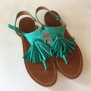 Lucky Brand Turquoise Tassel Thong Sandals